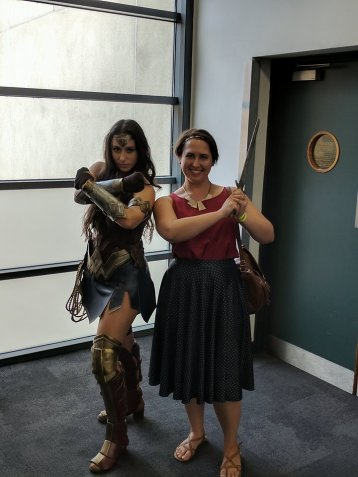 "Me in a low-key ""Wonder Woman-inspired"" outfit, with a much more hardcore cosplayer!"